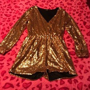 Pants - Sexy gold sequins short suit
